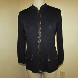 Cable & Gauge Bk Knit Jacket with Gold Trim size L